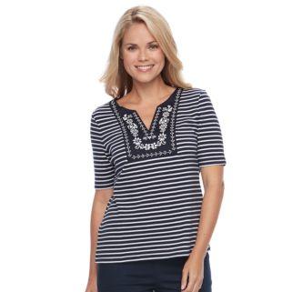 Petite Croft & Barrow® Striped Embroidered Bib Top