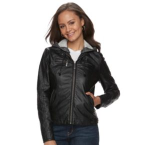 Juniors' J-2 Removable Hood Faux-Leather Jacket