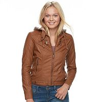 Juniors' J-2 Removable Hood Faux-Leather Jacket
