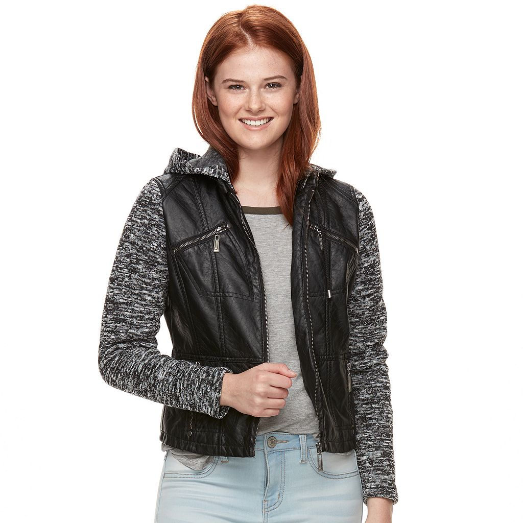 Juniors' J-2 Knit Sleeve Faux-Leather Jacket