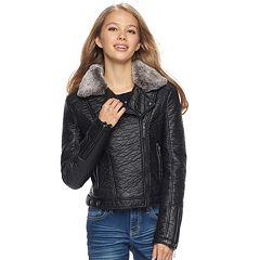 Juniors' J-2 Faux Fur Trim Textured Faux-Leather Jacket