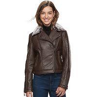 Juniors' J-2 Faux Fur Trim Textured Faux-Leather Jacket