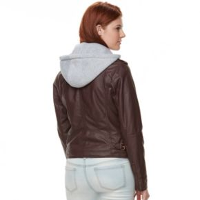 Juniors' J-2 Sherpa-Lined Faux Leather Jacket
