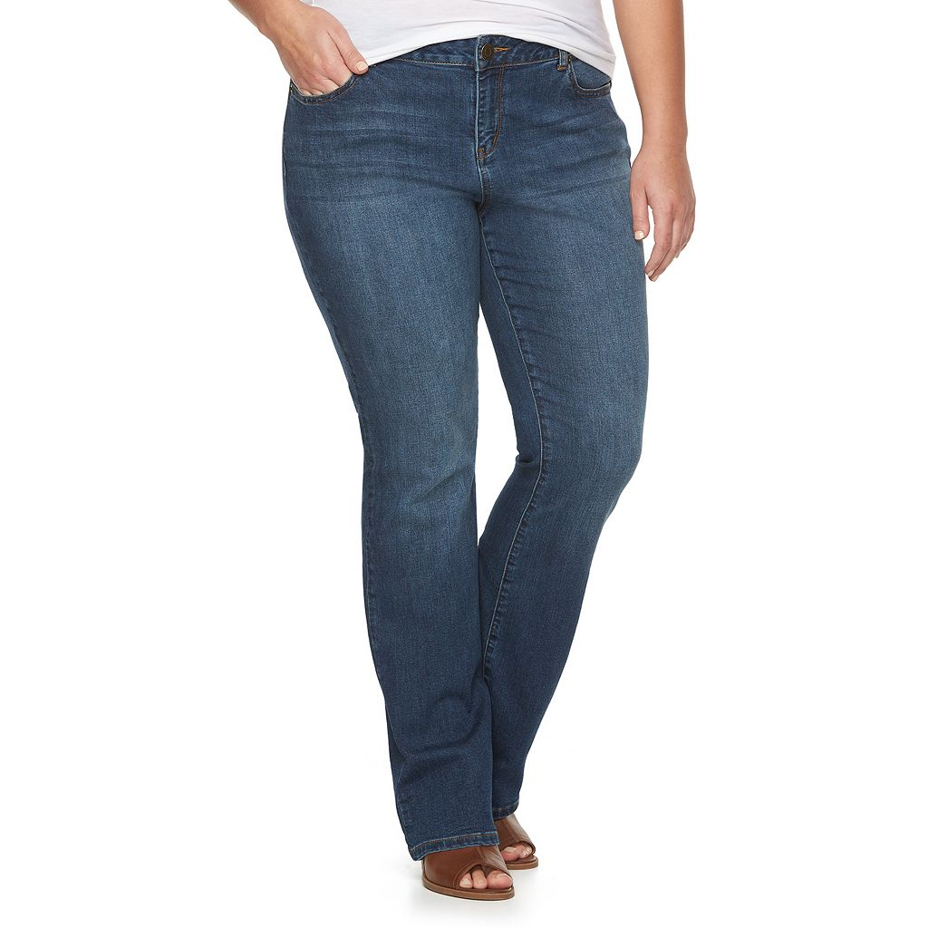 Juniors' Plus Size SO® Embroidered Bootcut Denim Jeans