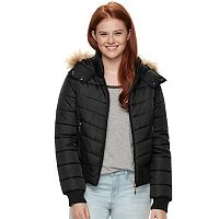 Juniors' J-2 Hooded Puffer Bomber Jacket