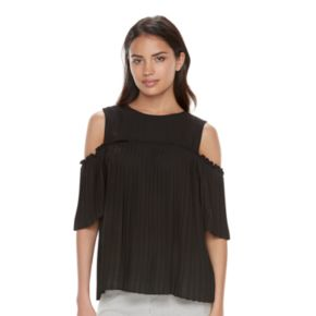 Women's ELLE? Pleated Cold-Shoulder Top