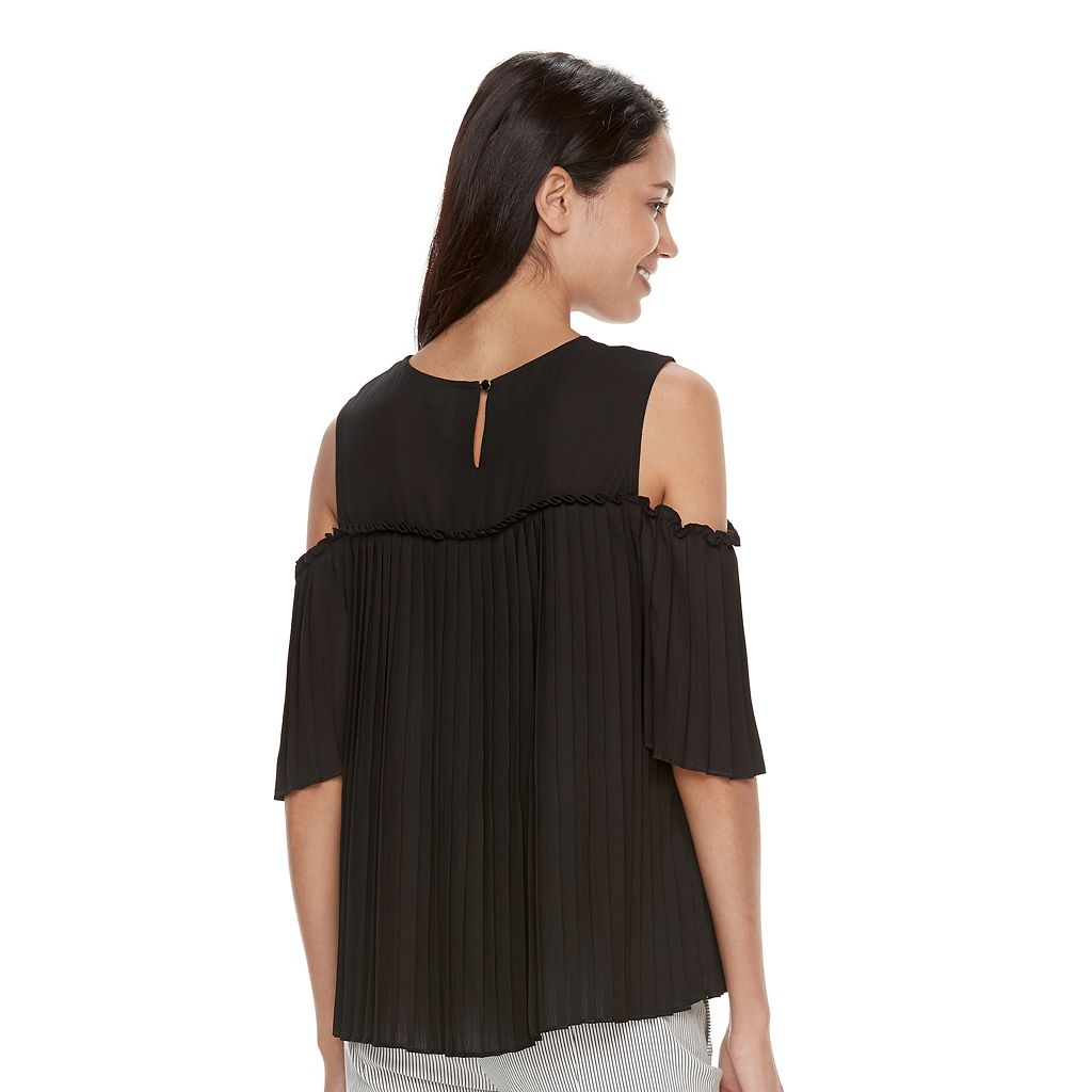 Women's ELLE™ Pleated Cold-Shoulder Top