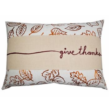 Celebrate Fall Together ''Give Thanks'' Banded Oblong Throw Pillow
