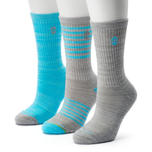 Women's Free Country 3-pk. Striped Crew Socks