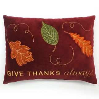 Celebrate Fall Together ''Give Thanks Always'' Oblong Mini Pillow