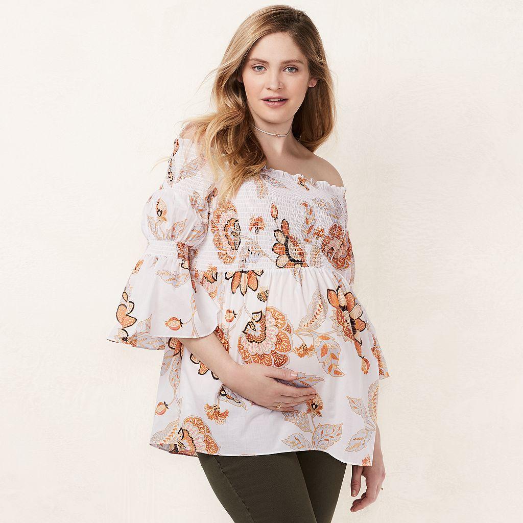 Maternity LC Lauren Conrad Smocked Off-the-Shoulder Top