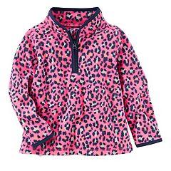 Toddler Girl OshKosh B'gosh® Cheetah Printed 1/2-Zip Fleece Pullover