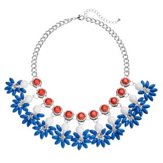 Red, White & Blue Shaky Bead Cluster Statement Necklace