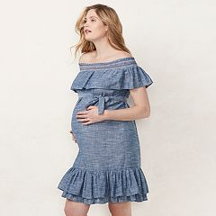Maternity LC Lauren Conrad Chambray Off-the-Shoulder Dress