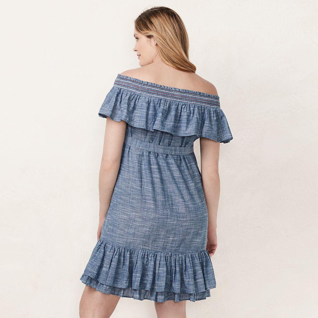 Maternity LC Lauren Conrad Chambray Off-the-Shoulder Dress
