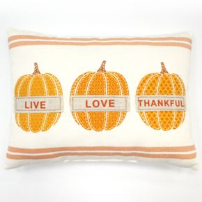 Celebrate Fall Together ''Live, Love, Thankful'' Oblong Mini Pillow