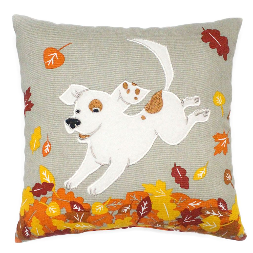 Celebrate Fall Together Dog in Leaves Small Throw Pillow
