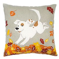 Celebrate Fall Together Dog in Leaves Mini Pillow