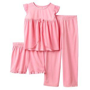 Girls 4-12 Glitter Mesh Top, Shorts & Pants Dress-Up Pajama Set