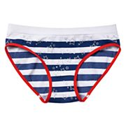 Girls 4-16 Maidenform Glitter Stars & Striped Pattern Seamless Hipster Panty