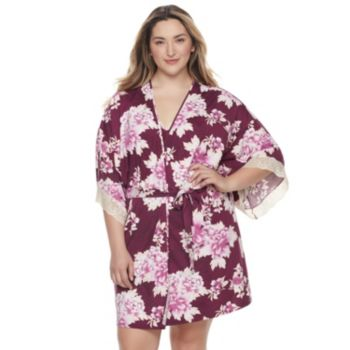 Plus Size Apt. 9® Dressed Up Comfort Floral Wrapper Robe