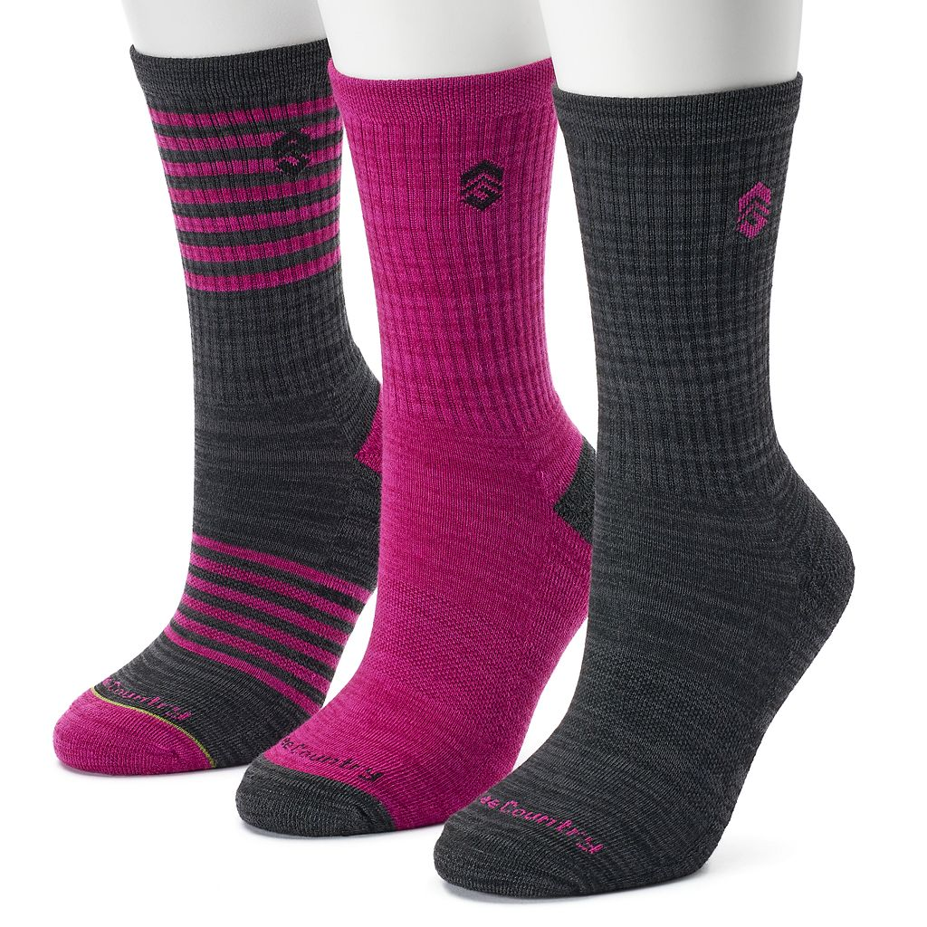 Women's Free Country 3-pk. Striped Crew Socks