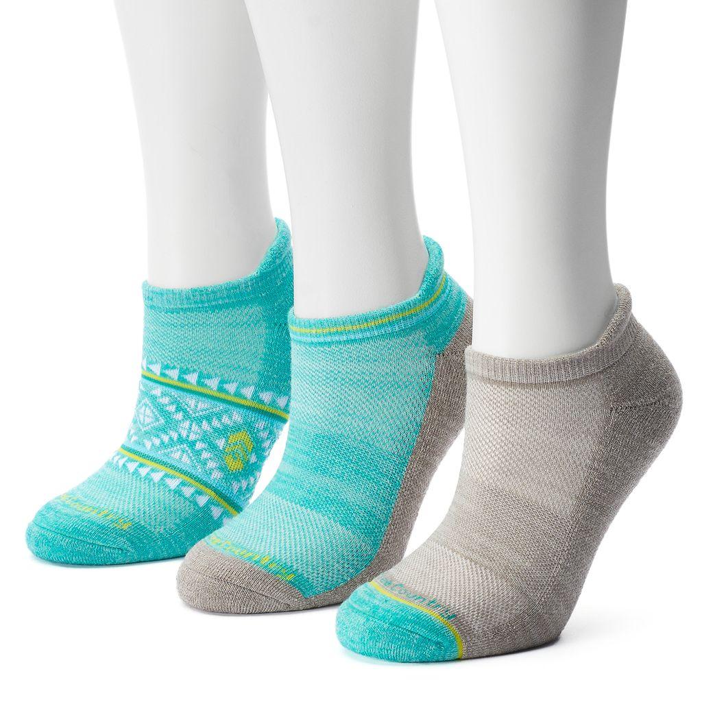 Women's Free Country 3-pk. Tribal Wool-Blend No-Show Socks