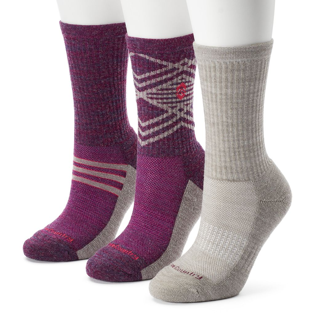 Women's Free Country 3-pk. Geometric Striped Wool-Blend Hiking Socks