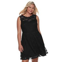 Juniors' Plus Size Wrapper Lace Skater Dress
