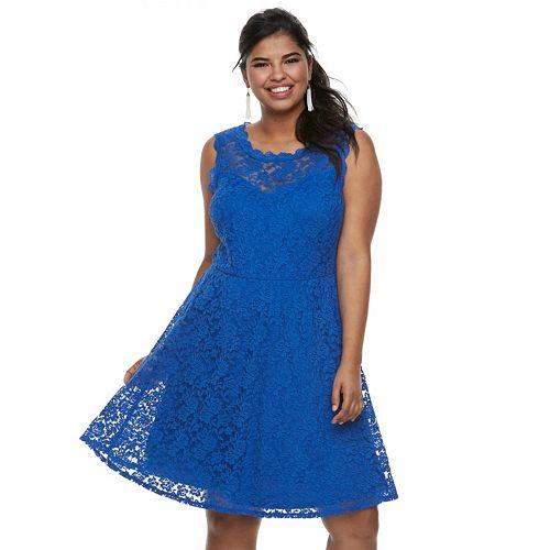Juniors' Plus Size Wrapper Lace Skater Dress