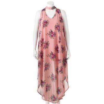 Juniors' Plus Size Wrapper Floral Print Choker Neck Dress