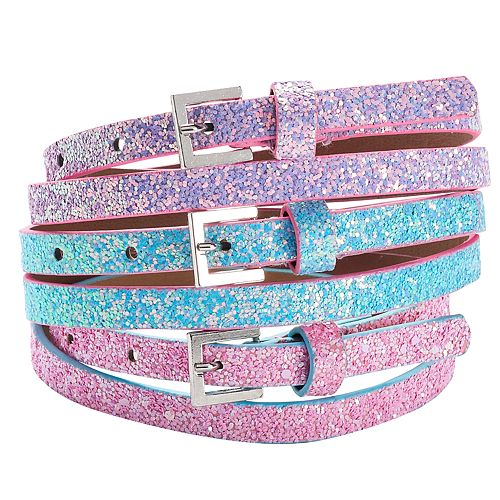 Girls 4-16 3-pk. Glitter Belts