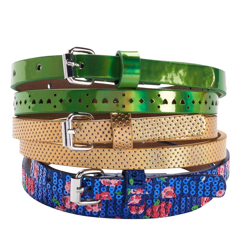 Girls 4-16 3-pk. Spring Mix Shiny Belts