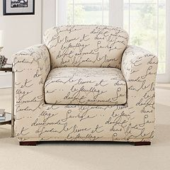 Sure Fit 2-piece Waverly Stretch Pen Pal Chair Slipcover