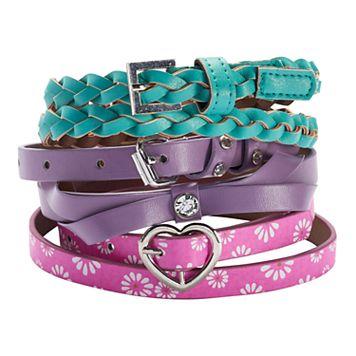 Girls 4-16 3-pk. Bow & Braid Belts