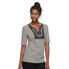 Women's Croft & Barrow® Striped Embroidered Bib Top