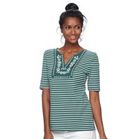 Women's Croft & Barrow® Striped Embroidered Bib Top