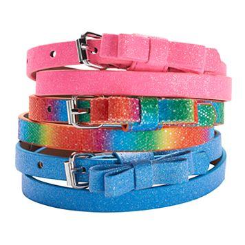 Girls 4-16 3-pk. Glitter Bow Belts