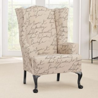 Sure Fit Waverly Stretch Pen Pal Wing Chair Slipcover