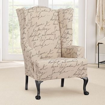 sure fit waverly stretch pen pal wing chair slipcover - Wing Chair Slipcover