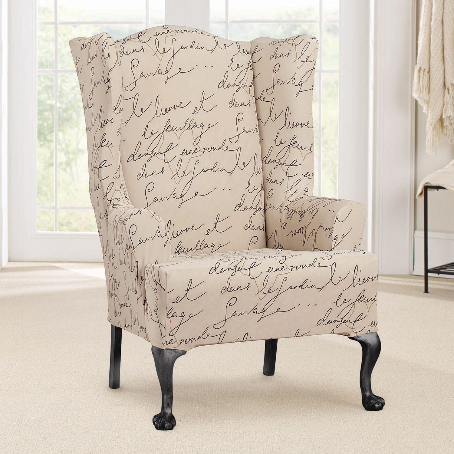 Merveilleux Sure Fit Waverly Stretch Pen Pal Wing Chair Slipcover