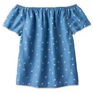 Girls 7-16 SO® Off Shoulder Heart Pattern Woven Babydoll Top