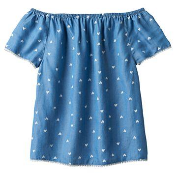 Girls 7-16 SO® Off Shoulder Heart Pattern Woven Babydoll Top