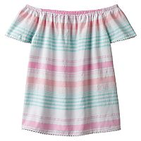 Girls 7-16 SO® Off Shoulder Metallic Striped Woven Babydoll Top