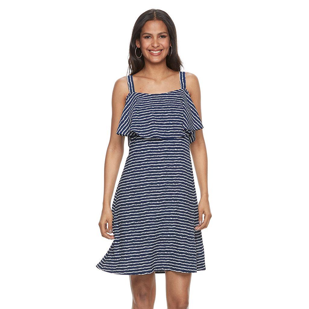 Women's Bethany Striped Flounce Shift Dress