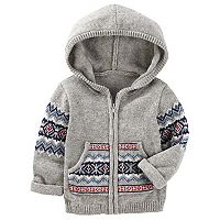 Baby Boy OshKosh B'gosh® Fairisle Hooded Zip Cardigan Sweater