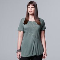 Plus Size Simply Vera Vera Wang Crochet Tee