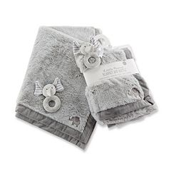 Baby Aspen Little Peanut Elephant Blanket & Rattle Set