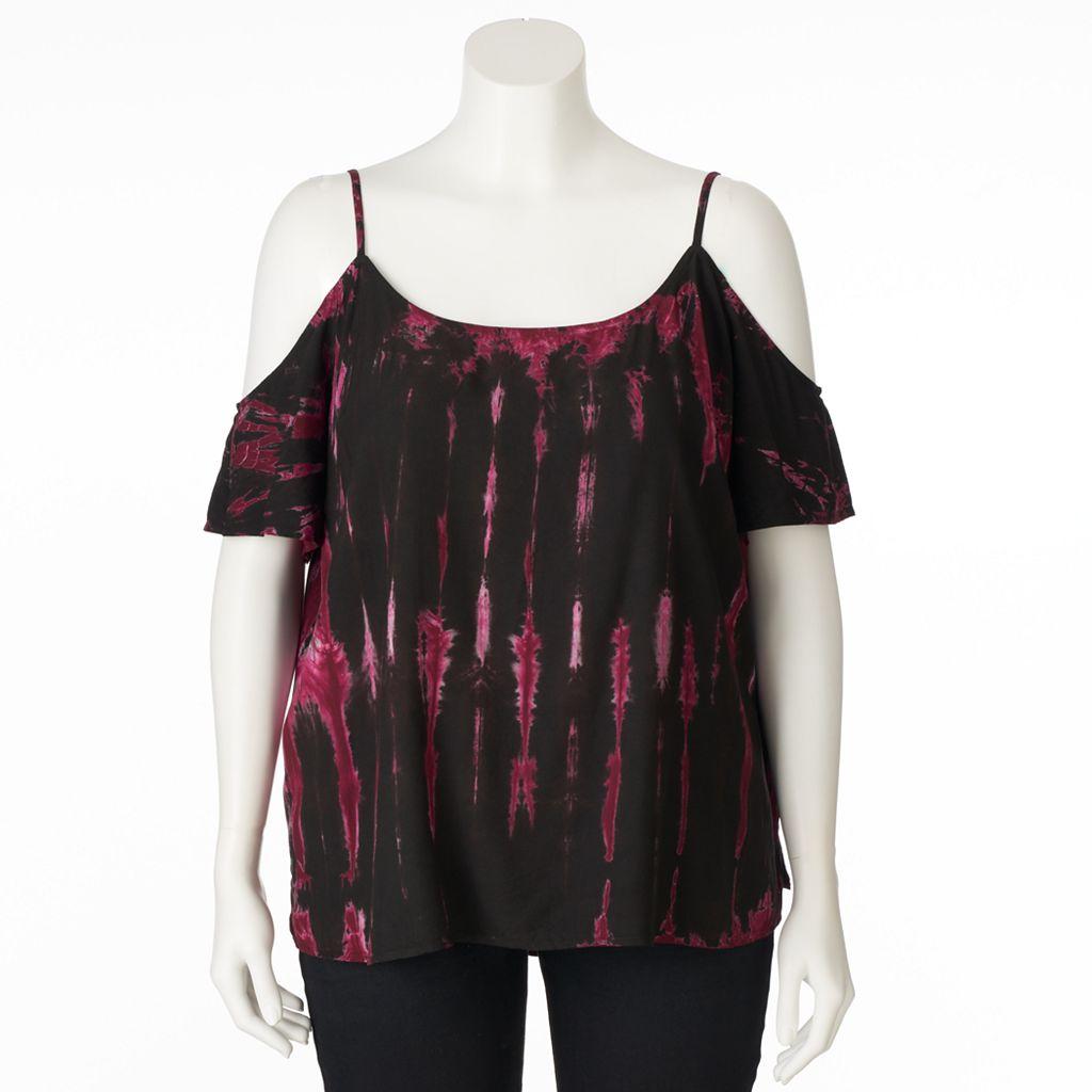 Plus Size Rock & Republic® Cold-Shoulder Tie-Dye Top
