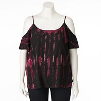 Plus Size Rock & Republic® Cold-Shoulder Tie-Dye Top